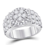14kt White Gold Womens Round Diamond Bridal Wedding Engagement Ring Band Set 3.63ct
