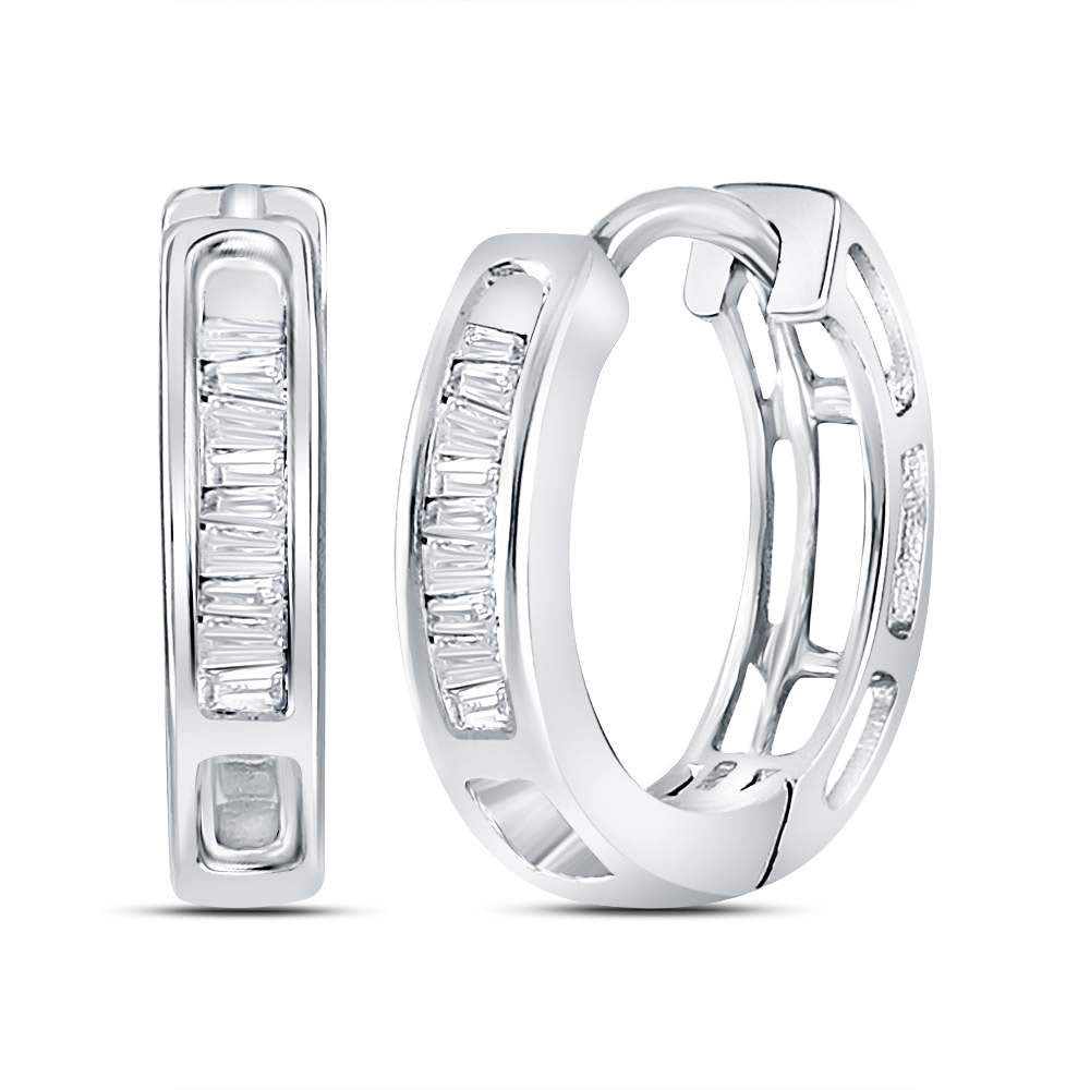 10kt White Gold  Baguette Diamond Huggie Hoop Earrings .17ct