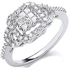 18ct White Gold 0.50ct Square Halo Ring