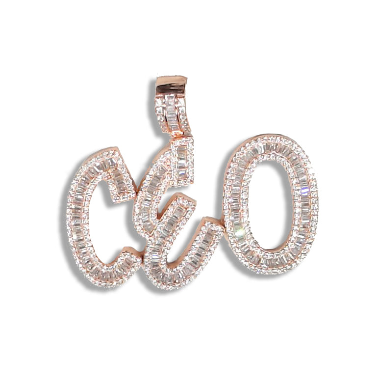"Silver ""CEO"" Pendant (Rose Plated) set with Baguette Cubic Zirconia"