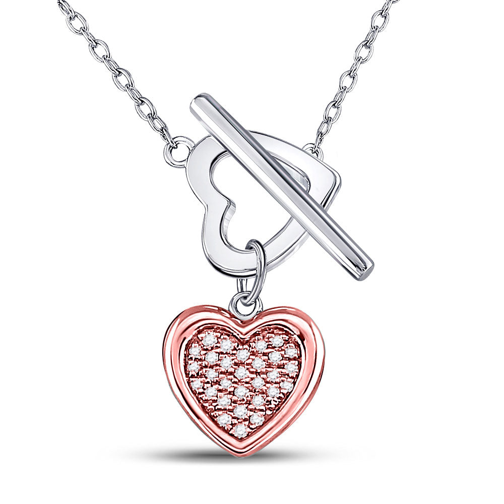 Sterling Silver Womens Round Diamond Fashion Heart Necklace .10ct