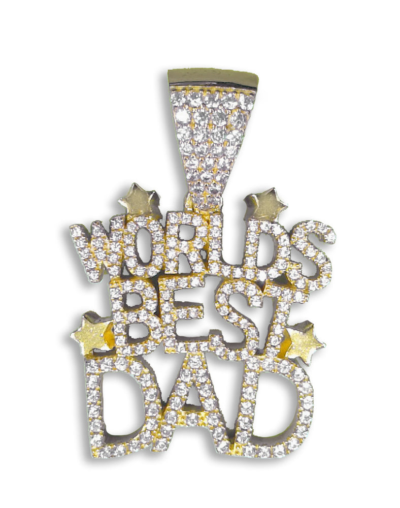 "Sterling Silver (18ct Yellow Gold Plated) ""World's Best Dad"" Pendant set with Cubic Zirconia***"