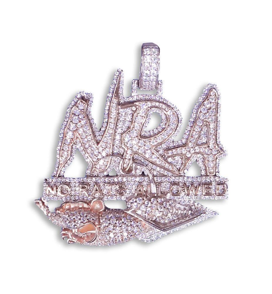 "Sterling Silver ""NRA No Rats Allowed"" Pendant (Rose Plated) set with Cubic Zirconia"