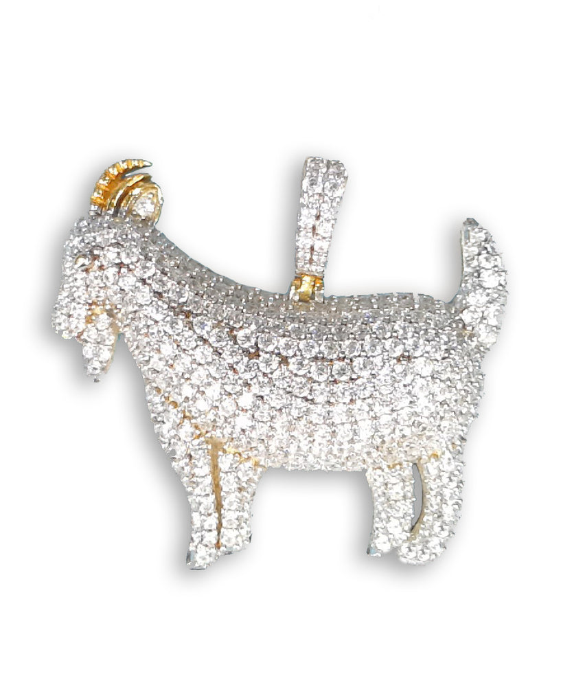 Sterling Silver (18ct Gold Plated) Goat Pendant with Cubic Zirconia