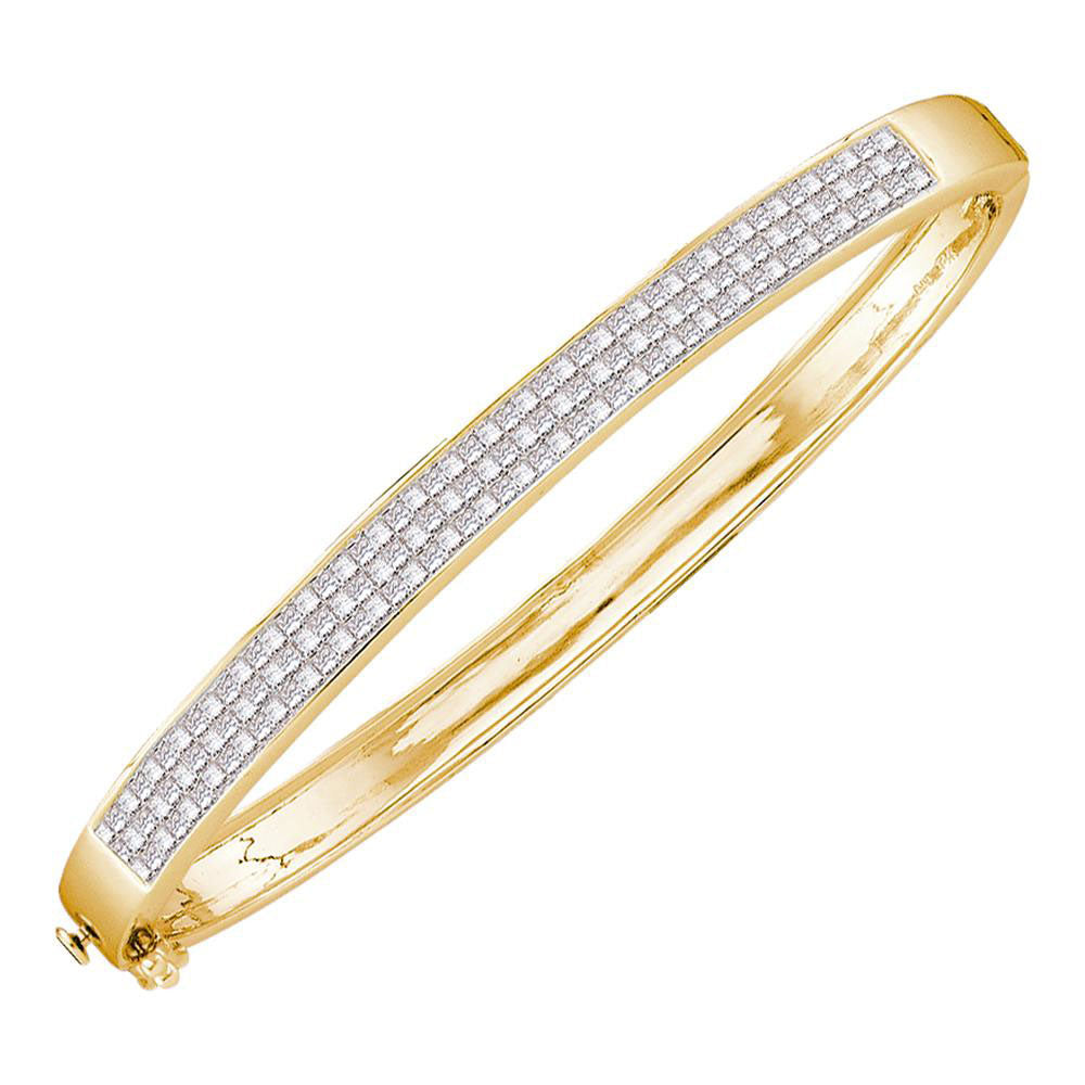 14kt Yellow Gold Womens Princess Invisible-set Diamond Bangle Bracelet 2.00ct