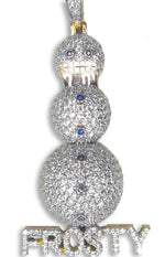 "Sterling Silver ""Frosty"" Snowman Pendant (Gold Plated) set with Cubic Zirconia"