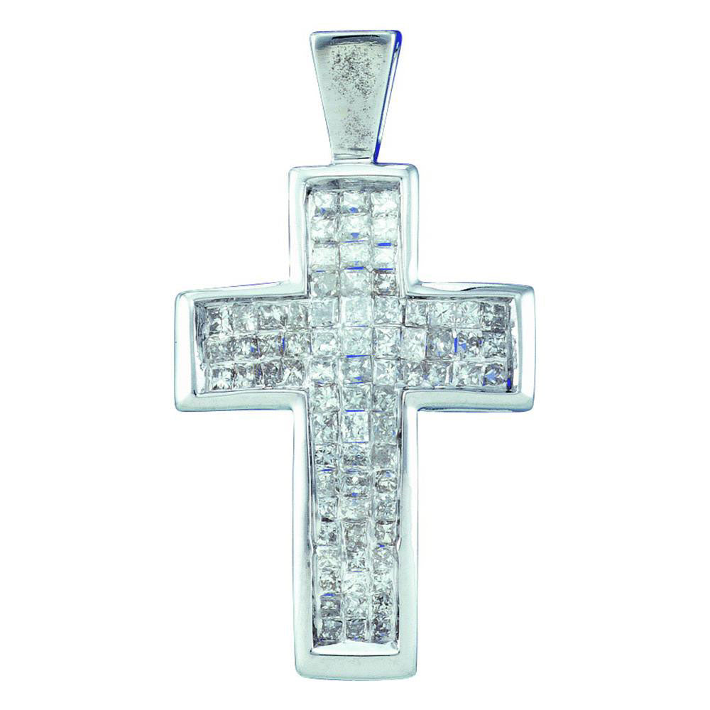 14kt White Gold Womens Princess Diamond Cross Religious Pendant .50ct