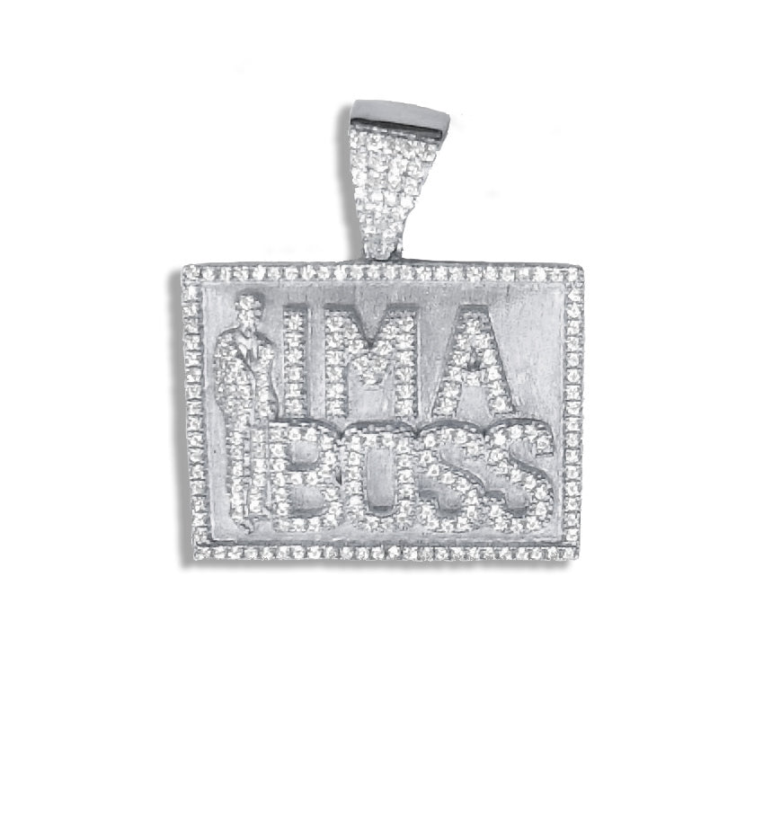 Sterling Silver I'm A Boss Pendant set with Cubic Zirconia***