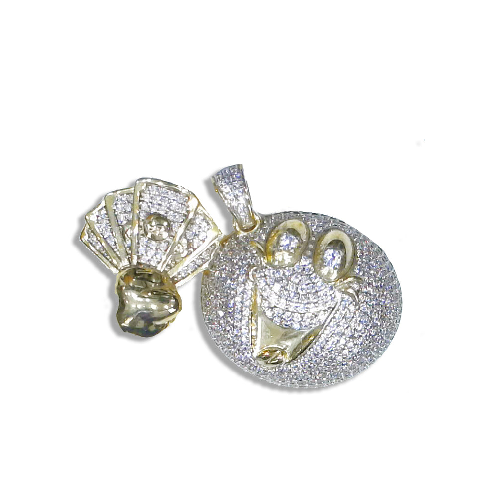 Sterling Silver Emoji Money Hungry Pendant set with Cubic Zirconia***