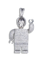 Sterling Silver Lego Man Pendant set with Cubic Zirconia***