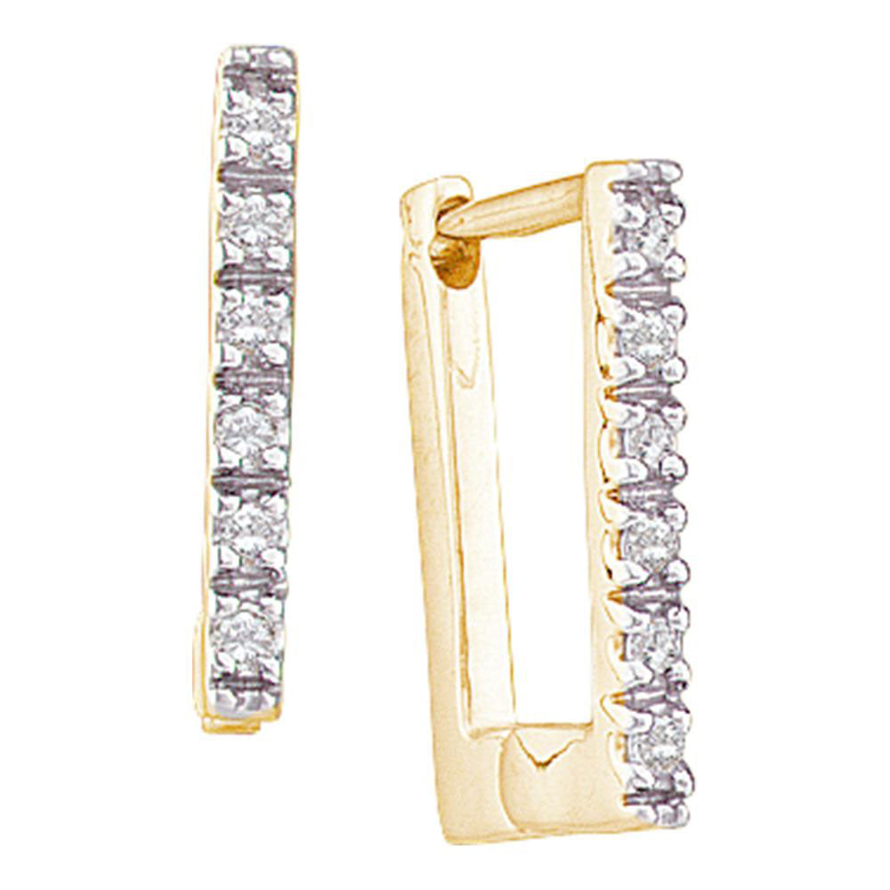 14kt Yellow Gold  Round Diamond Rectangle Huggie Hoop Earrings 0.05ct