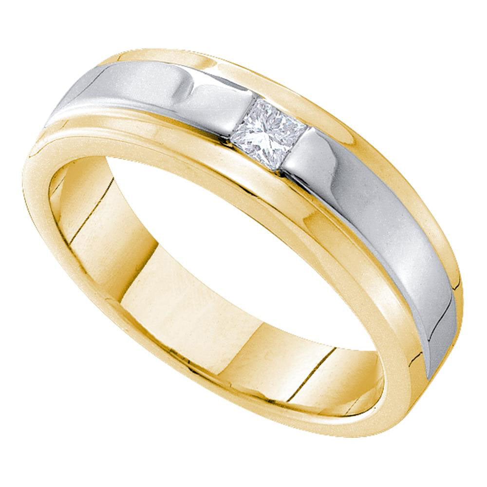 14kt Yellow Gold Mens Princess Diamond Solitaire Two-tone Stripe Wedding Band Ring .17ct