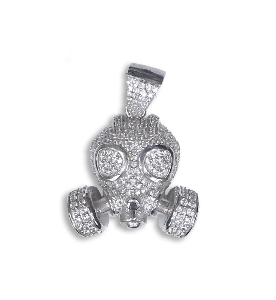 Sterling Silver Gas Mask Pendant set with Cubic Zirconia