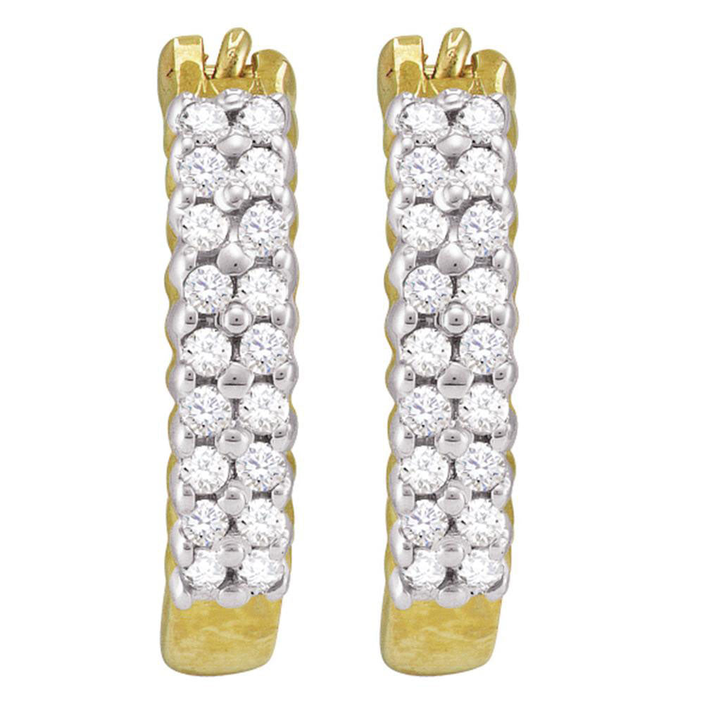 10kt Yellow Gold  Round Pave-set Diamond Huggie Hoop Earrings .25ct