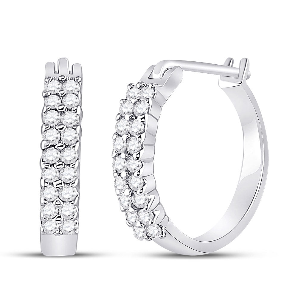 10kt White Gold  Round Pave-set Diamond Huggie Hoop Earrings .25ct