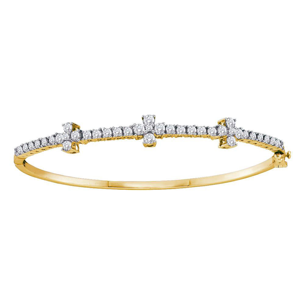 14kt Yellow Gold Womens Round Diamond Pave-set Bangle Bracelet 1.50ct