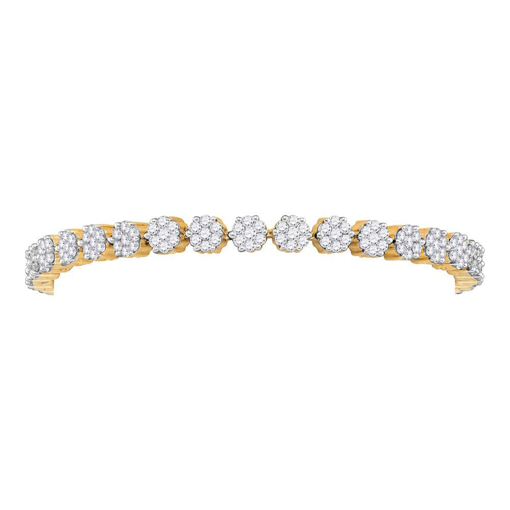 14kt Yellow Gold Womens Round Diamond Flower Cluster Tennis Bracelet 4.00ct