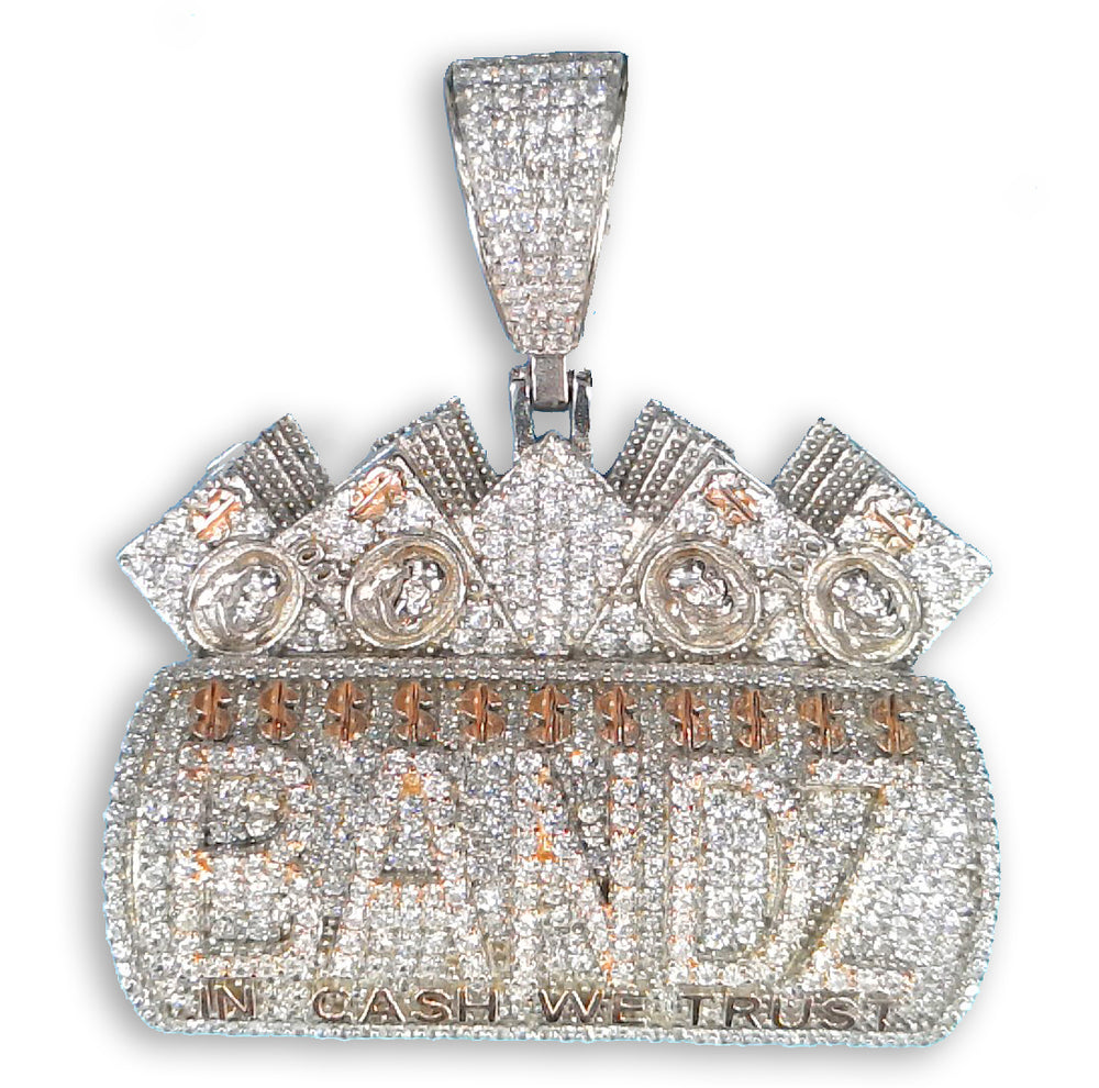 Bandz - In Cash We Trust Pendant (Rose+Rhodium Plated) set with Cubic Zirconia