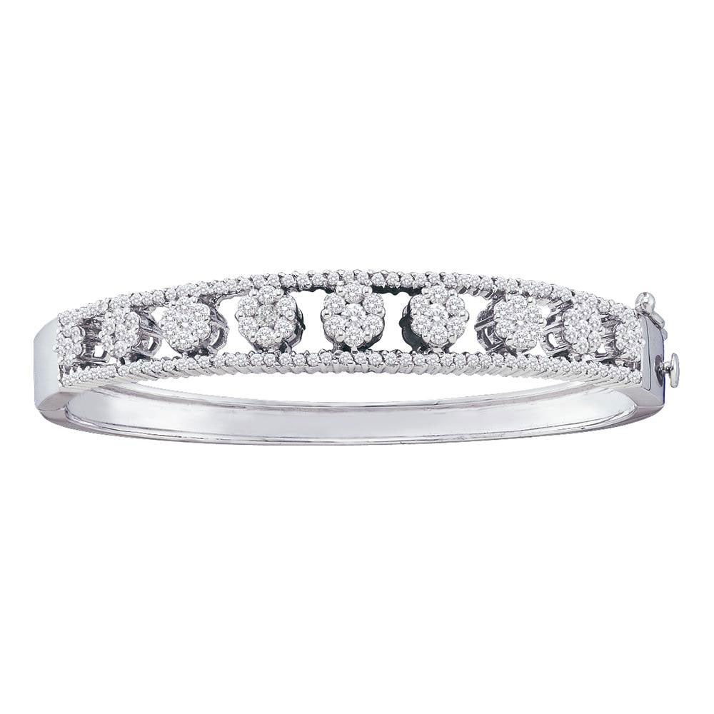 14kt White Gold Womens Round Diamond Bangle Flower Cluster Bracelet 2.38ct