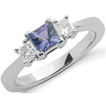 18ct White Gold Princess Cut 0.20ct Diamond & 0.5ct Tanzanite Ring