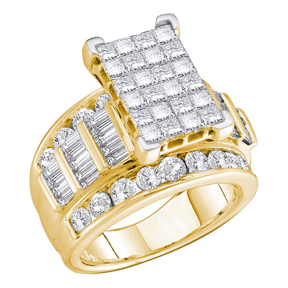 14kt Yellow Gold Womens Princess Diamond Cluster Bridal Wedding Engagement Ring 5.00ct