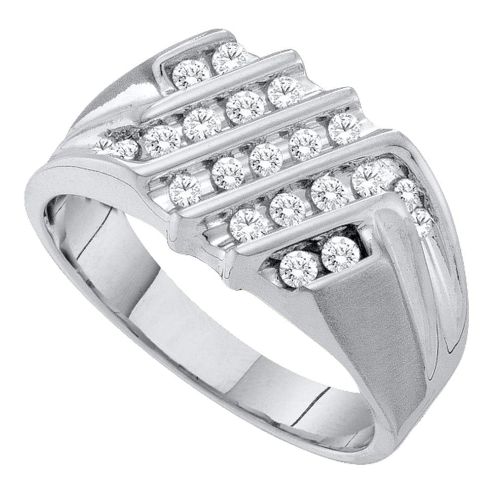 10kt White Gold Mens Round Diamond Stripe Cluster Band Ring .50ct