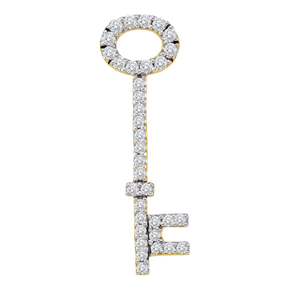 14kt Yellow Gold Womens Round Diamond Slender Oval Key Pendant .50ct