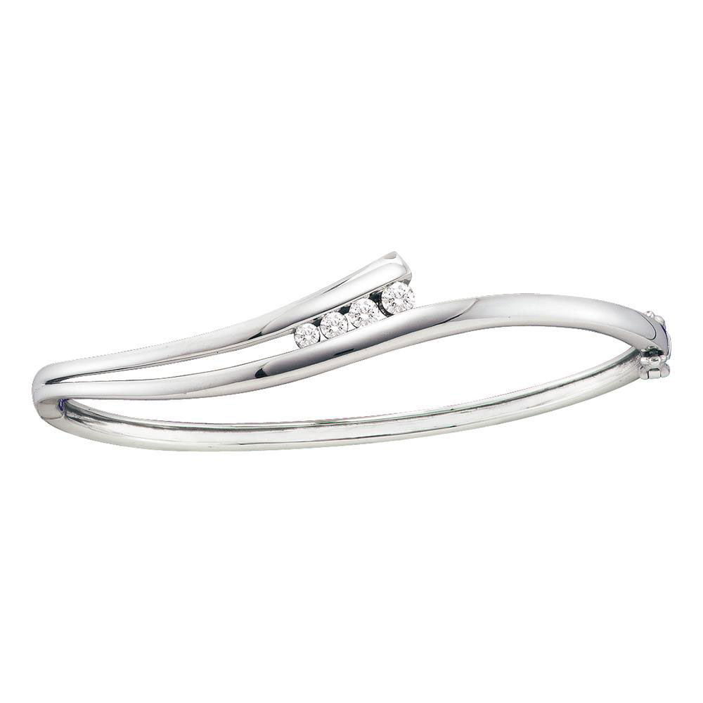 14kt White Gold Womens Round Diamond Graduated Journey Bangle Bracelet .38ct