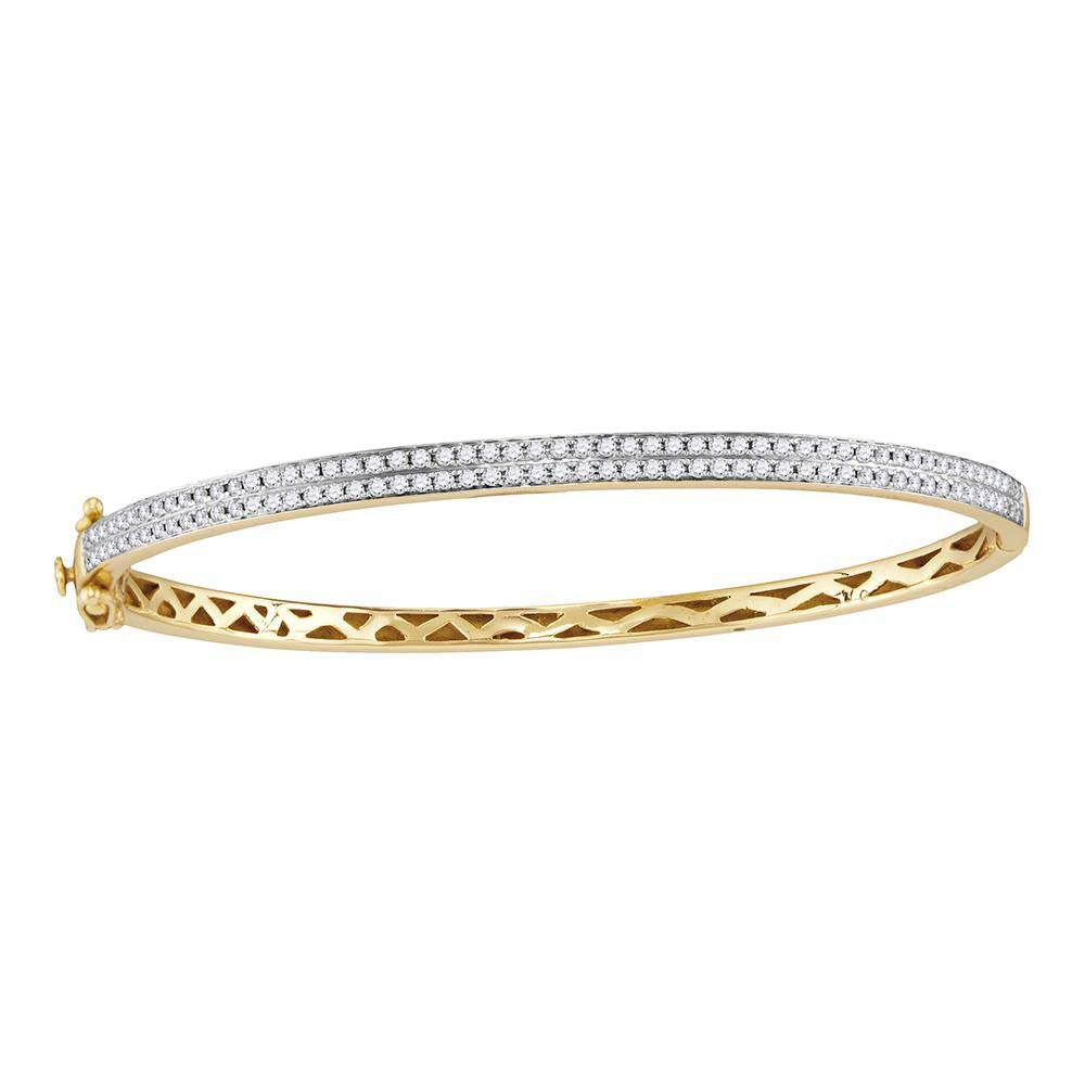 14kt Yellow Gold Womens Round Diamond Bangle Bracelet 1.00ct