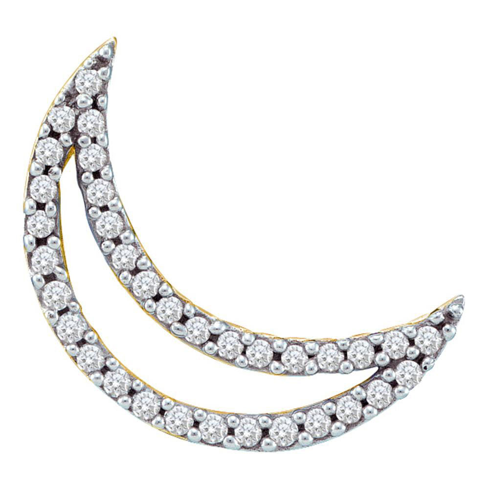 14kt White Gold Womens Round Diamond Crescent Moon Outline Pendant .17ct