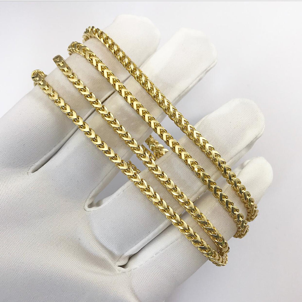 9ct 3.5mm  Yellow Gold Diamond-Cut Franco Chain/ Bracelet (Solid)