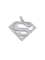 Silver Super S Logo Pendant set with Cubic Zirconia