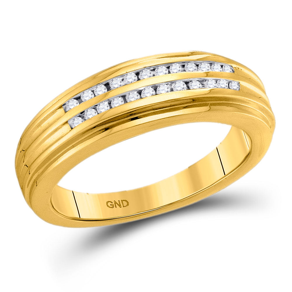 14kt Yellow Gold Mens Round Diamond Double Row Ridged Band Ring .15ct