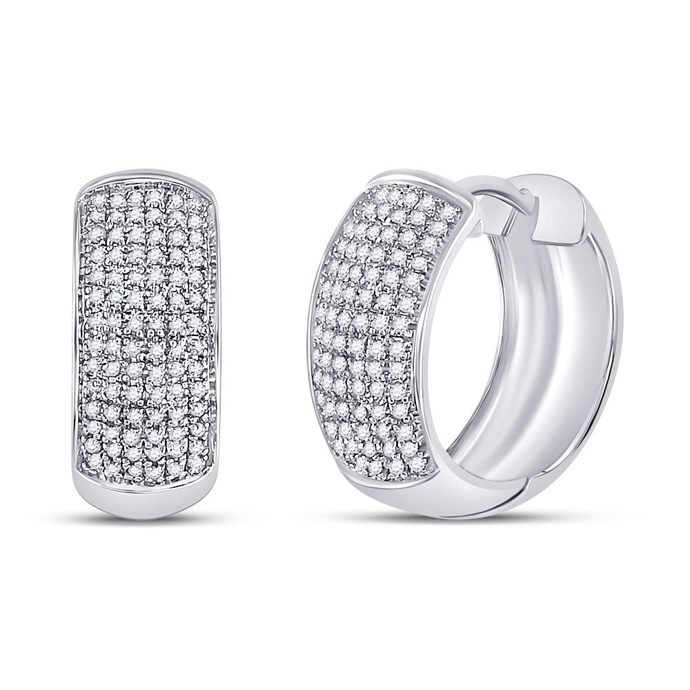 14kt White Gold  Round Pave-set Diamond Huggie Hoop Earrings .50ct