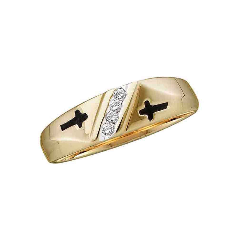 14kt Yellow Gold Mens Round Diamond Double Cross Wedding Band Ring .50ct