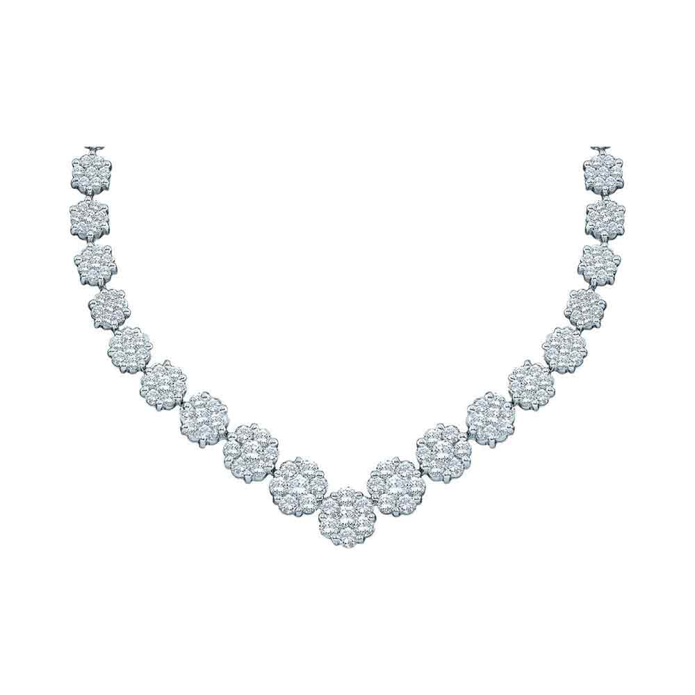 14kt White Gold Womens Round Diamond Cluster V-Shape Luxury Necklace 5.00ct