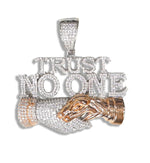 "Silver ""Trust No One"" Pendant (Rose Plated) set with Cubic Zirconia"