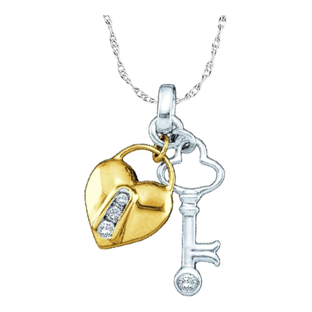 10kt Yellow Two-tone Gold Womens Round Diamond Heart Lock Key Pendant 0.05ct