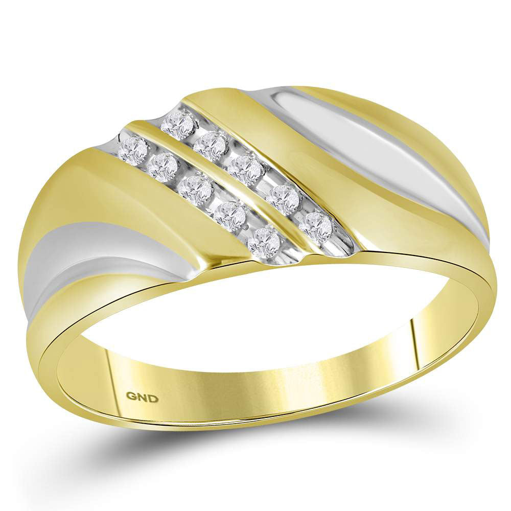 Yellow-tone Sterling Silver Mens Round Diamond Wedding Band Ring .13ct