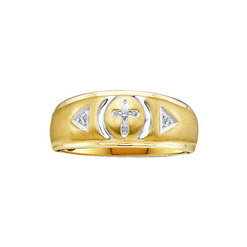 Yellow-tone Sterling Silver Mens Round Diamond Cross Wedding Band Ring 0.05ct