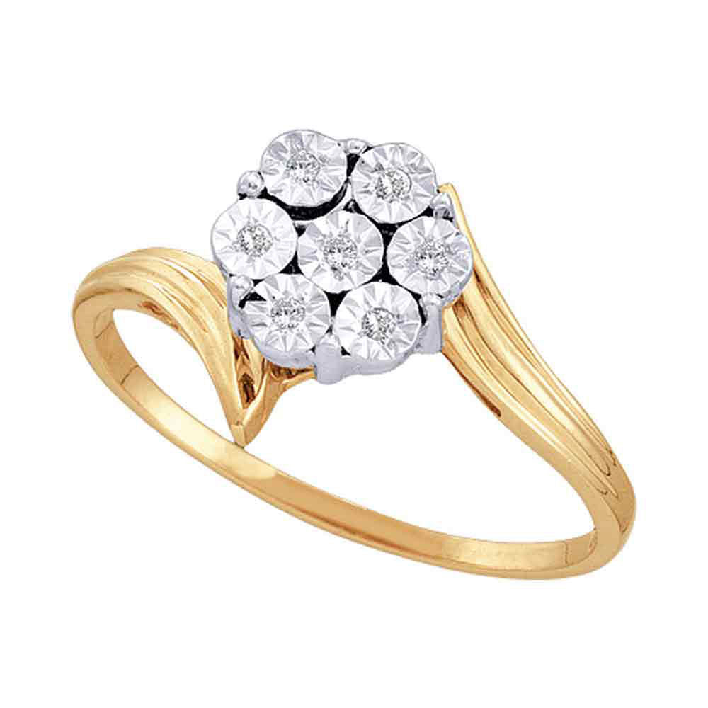 10kt Yellow Gold Womens Round Diamond Miracle Flower Cluster Ring .50ct