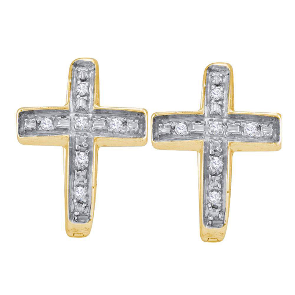 Yellow-tone Sterling Silver  Round Diamond Cross Huggie Hoop Earrings 0.05ct