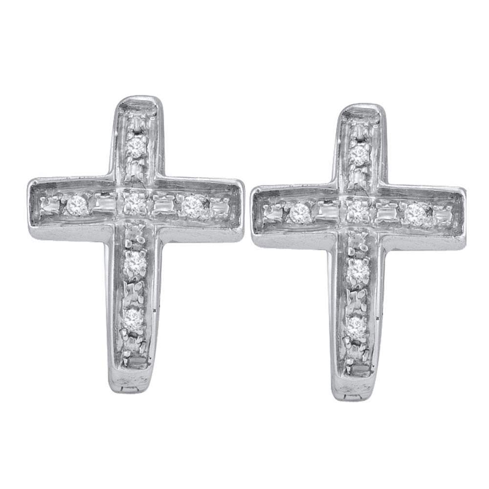 Sterling Silver  Round Diamond Cross Faith Huggie Hoop Earrings 0.05ct