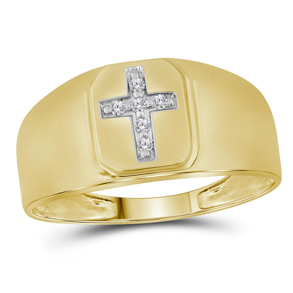 14kt Yellow Gold Mens Round Diamond Brushed Cross Band Ring 0.05ct