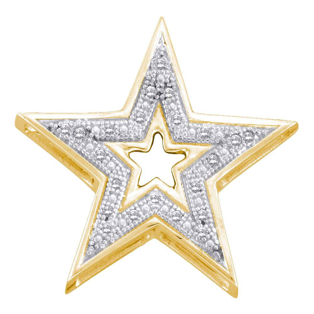 10kt Yellow Gold Womens Round Diamond Simple Star Cutout Pendant 0.05ct