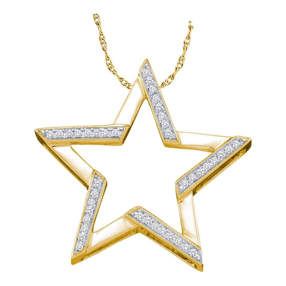 10kt Yellow Gold Womens Round Diamond Star Outline Pendant .10ct