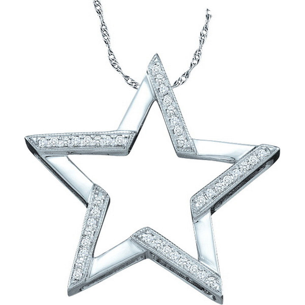 10kt White Gold Womens Round Diamond Star Outline Pendant .10ct