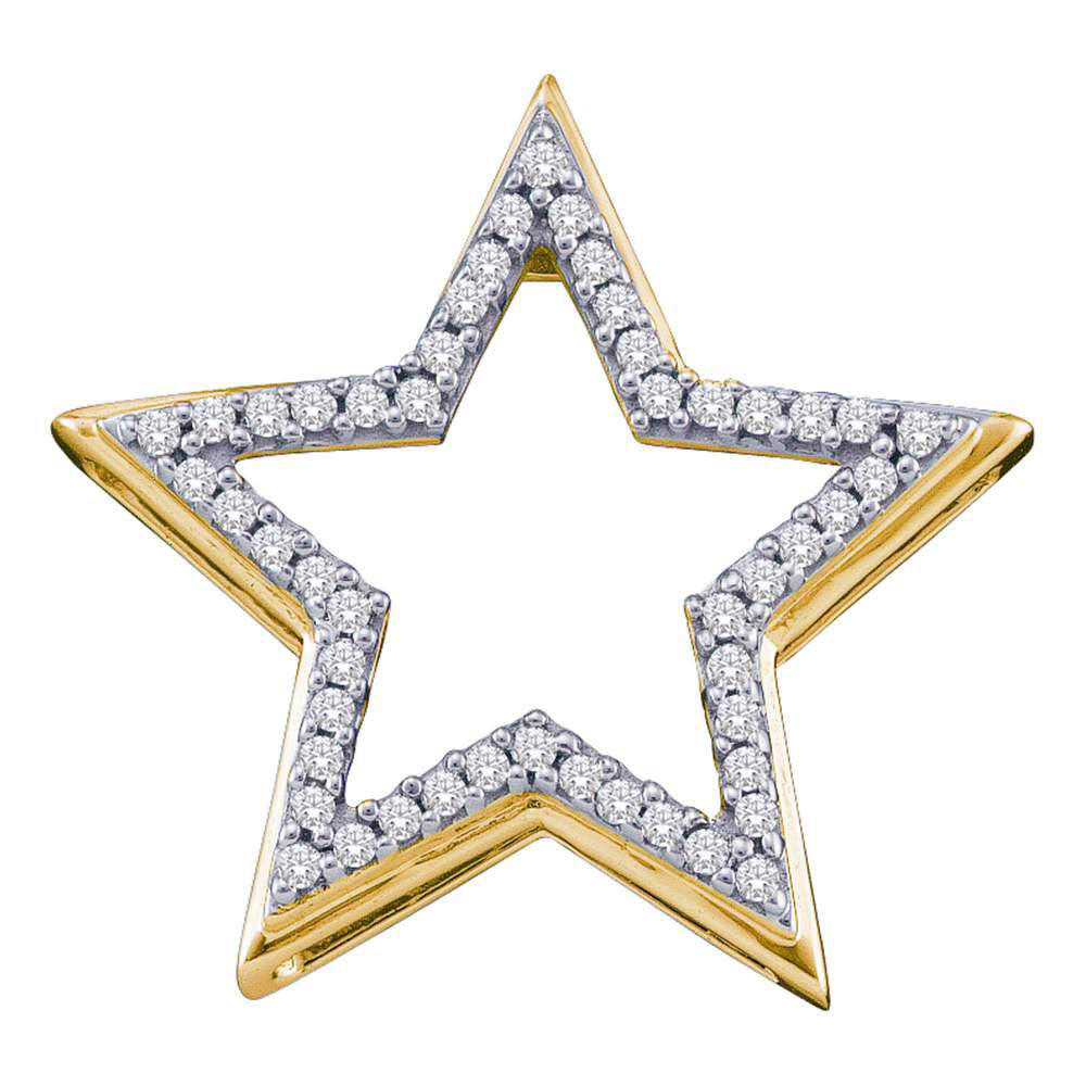 10kt Yellow Gold Womens Round Diamond Star Frame Outline Pendant .17ct