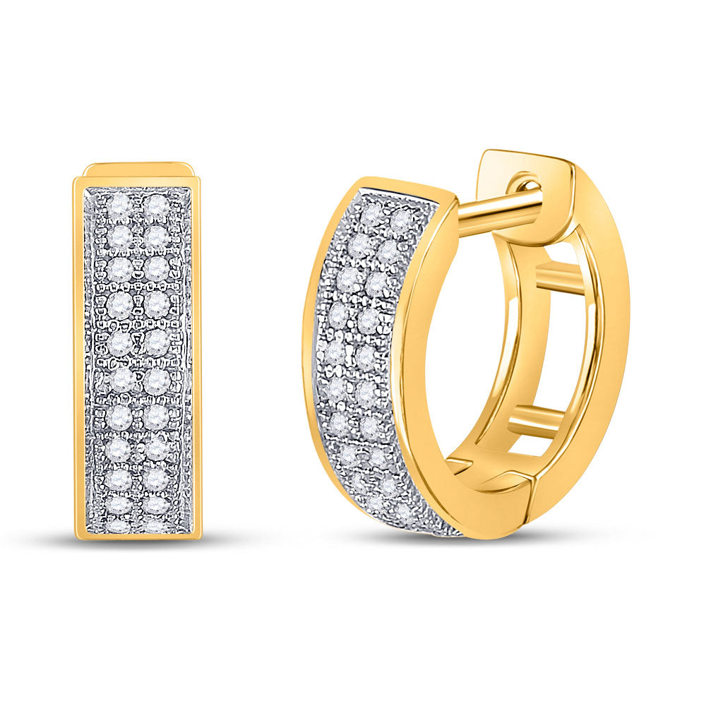 10kt Yellow Gold  Round Diamond Double Row Huggie Hoop Earrings .17ct