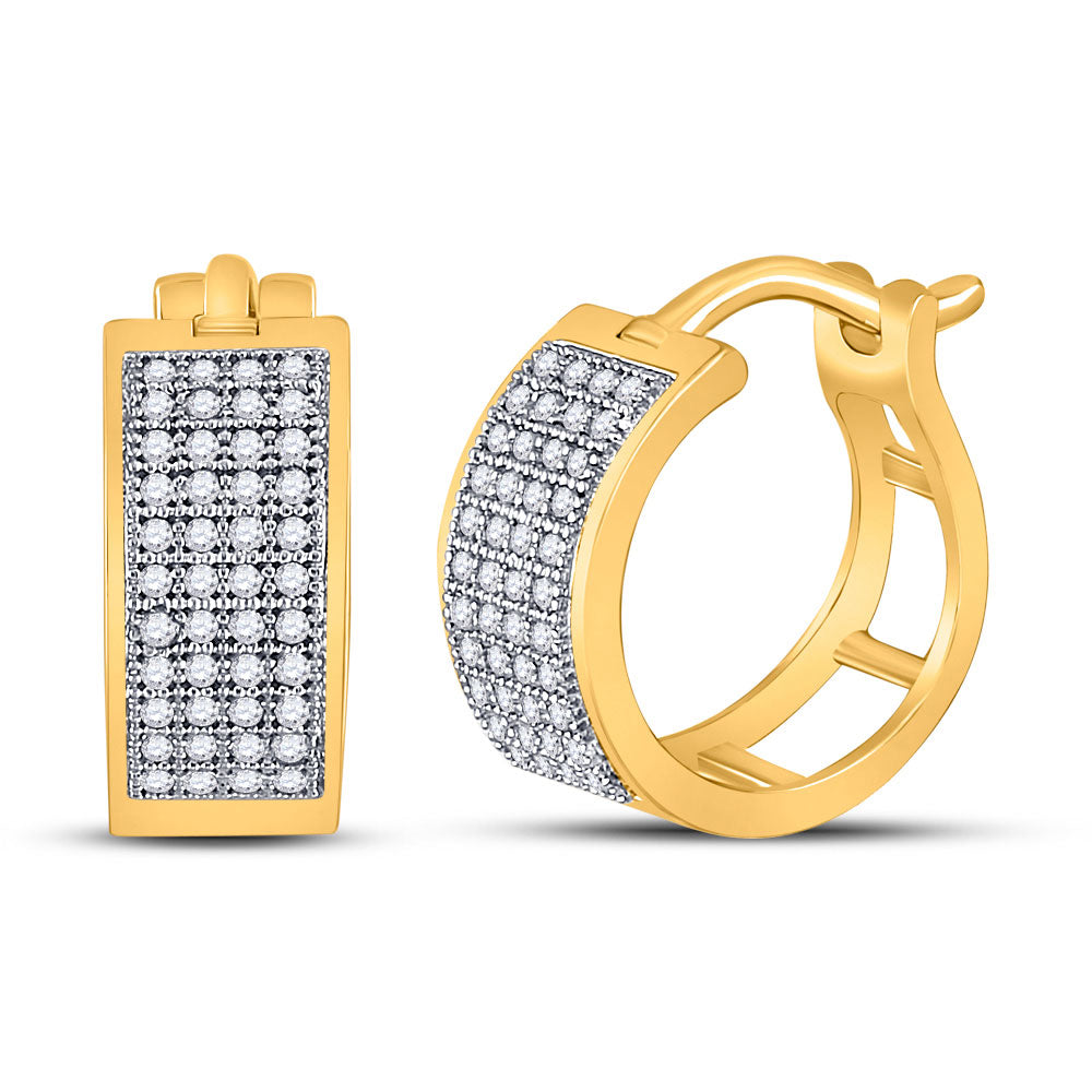 10kt Yellow Gold  Round Diamond Huggie Earrings .25ct